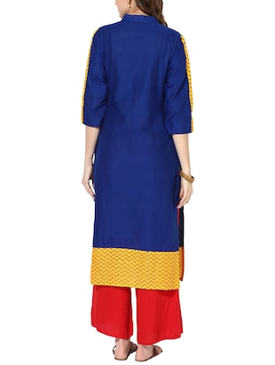 blue cotton straight kurta - 15177988 - Standard Image - 3