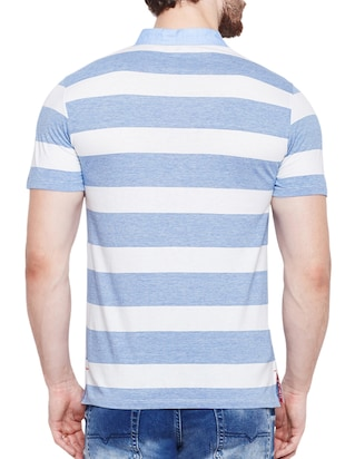 light blue cotton polo t-shirt - 15178455 - Standard Image - 3