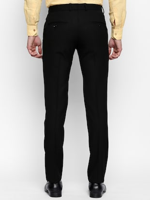 black polyester blend flat front formal trouser - 15180273 - Standard Image - 3