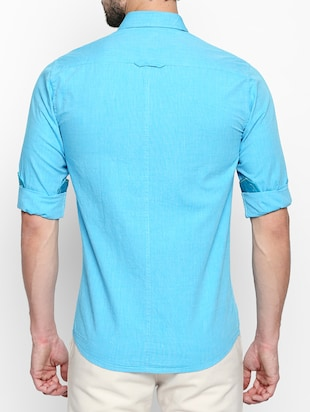 turquoise cotton casual shirt - 15180283 - Standard Image - 3