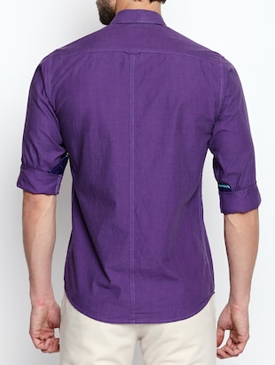 purple cotton casual shirt - 15180284 - Standard Image - 3