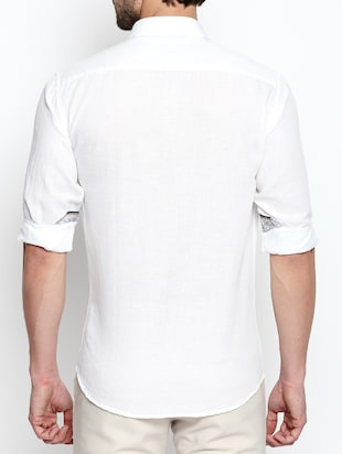 white cotton linen casual shirt - 15180286 - Standard Image - 3