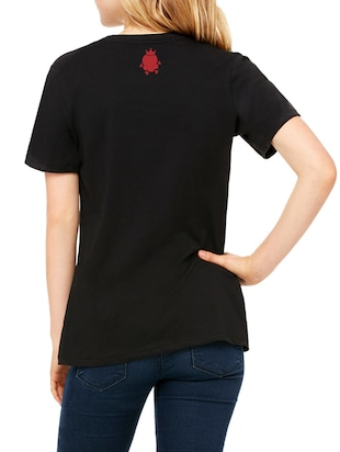 black cotton graphic straight tee - 15180729 - Standard Image - 3