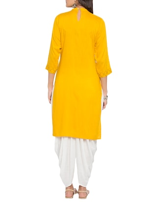 Bright yellow embroidered kurta - 15187108 - Standard Image - 3