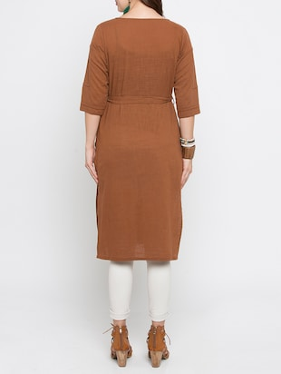 brown cotton straight solid kurta - 15187234 - Standard Image - 3