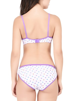 White printed hosery bras and panty set - 15190299 - Standard Image - 3