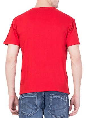 red cotton chest print t-shirt - 15194140 - Standard Image - 3