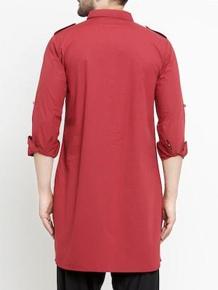 red cotton pathani kurta - 15204749 - Standard Image - 3