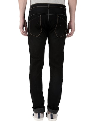 black cotton plain jeans - 15214715 - Standard Image - 3