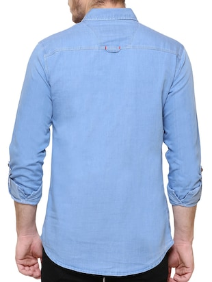 blue denim casual shirt - 15217363 - Standard Image - 3