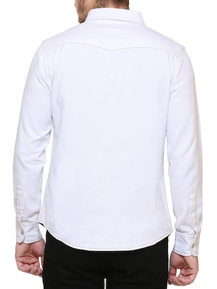 white denim casual shirt - 15218648 - Standard Image - 3