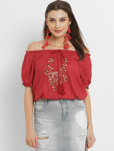 b4b05960e3b43a Buy women off shoulder tops western in India   Limeroad
