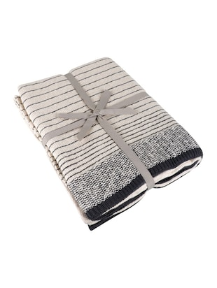 Stripped Knitted Throw - 15243477 - Standard Image - 3