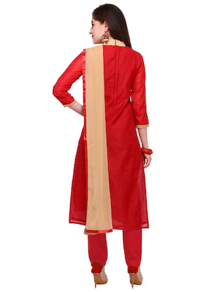 Red embroidered unstitched churidaar suit - 15263537 - Standard Image - 3
