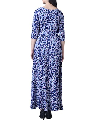 navy blue crepe floral maxi dress - 15264405 - Standard Image - 3