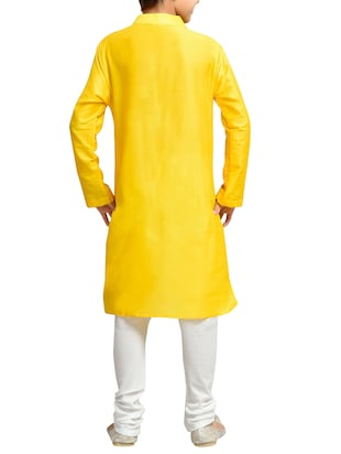 yellow cotton blend kurta set - 15288500 - Standard Image - 3
