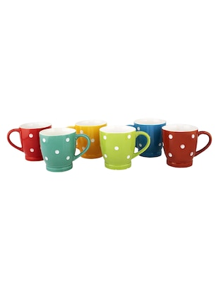 Multi Color Tea Cups / Coffee Mugs with White Dot Pattern - Set of 6 - 15311001 - Standard Image - 3