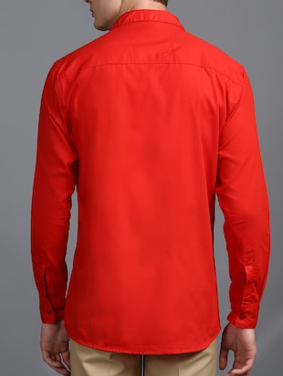 red cotton casual shirt - 15323338 - Standard Image - 3
