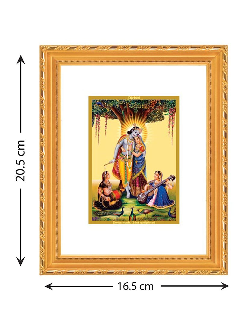Buy Double Glass Wall Hanging Frame Gold Plated Radha Krishna With ...