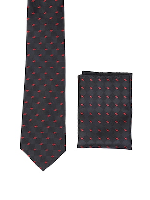 multi colored micro fiber tie with pocket square and belt - 15326439 - Standard Image - 3
