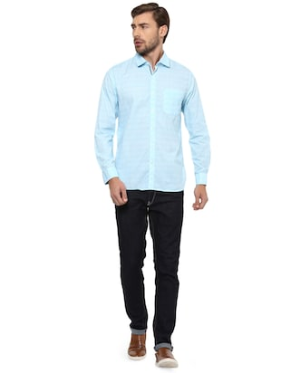 blue cotton casual shirt - 15327245 - Standard Image - 3
