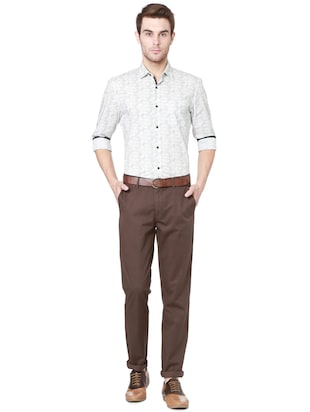 brown cotton chinos - 15328003 - Standard Image - 3