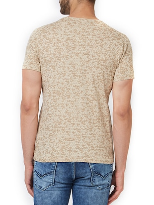 beige cotton all over print t-shirt - 15340177 - Standard Image - 3