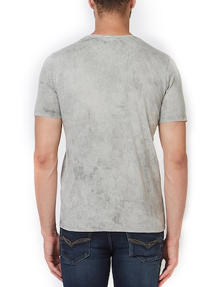 grey cotton front print  t-shirt - 15340196 - Standard Image - 3