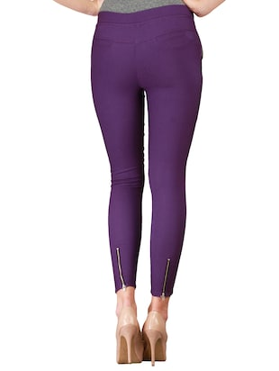 flat front side zipper jeggings - 15341012 - Standard Image - 3