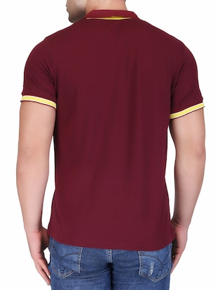 maroon cotton polo t-shirt - 15341473 - Standard Image - 3