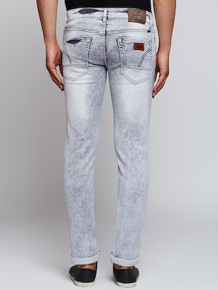 grey cotton washed jeans - 15341774 - Standard Image - 3