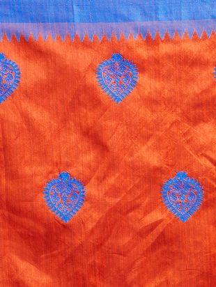 orange cotton silk embroidered saree with blouse - 15342707 - Standard Image - 3