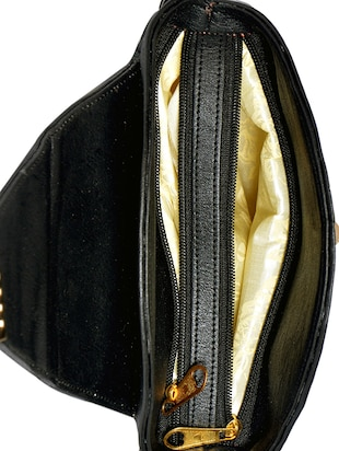 black leatherette (pu) regular sling bag - 15343557 - Standard Image - 3