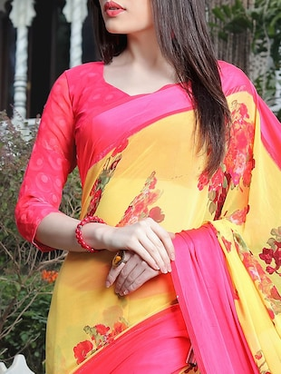 floral printed yellow saree with blouse - 15344236 - Standard Image - 3