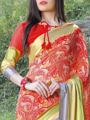 striped border red saree with blouse - 15344237 - Standard Image - 3