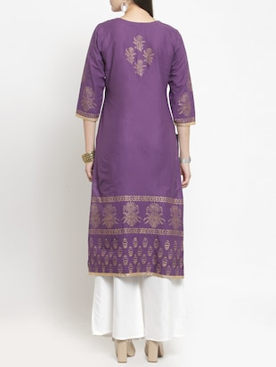 purple cotton straight kurta - 15344544 - Standard Image - 3