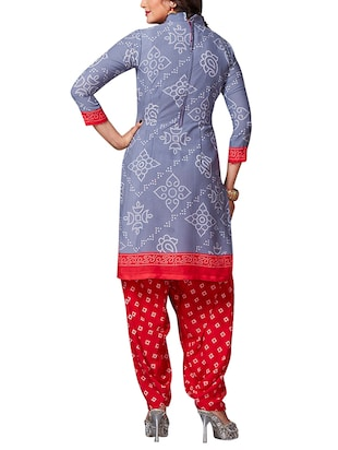 multi colored unstitched combo suit - 15344697 - Standard Image - 3