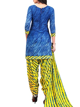 multi colored unstitched combo suit - 15345081 - Standard Image - 3