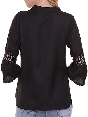 Lace trim flute sleeved top - 15345598 - Standard Image - 3