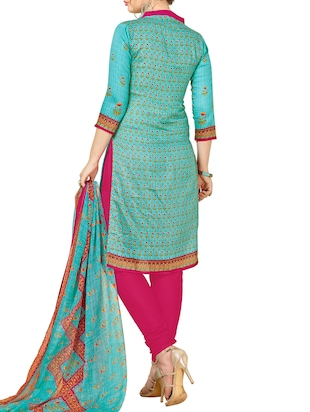 Embroidered unstitched churidaar suit - 15345885 - Standard Image - 3
