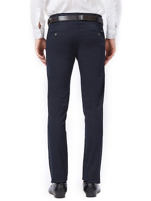 blue cotton flat front formal trouser - 15347298 - Standard Image - 3