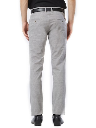 grey cotton flat front formal trouser - 15347303 - Standard Image - 3