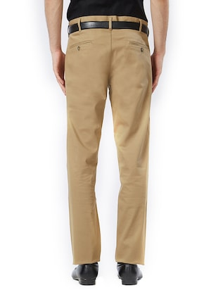 brown cotton flat front casual trouser - 15347327 - Standard Image - 3