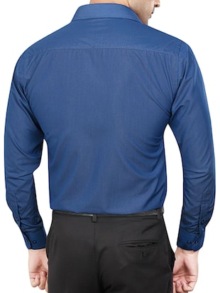blue polyester blend formal shirt - 15348002 - Standard Image - 3