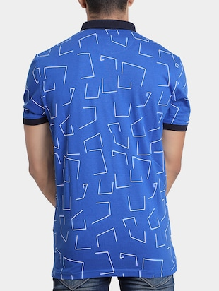 blue cotton all over print  t-shirt - 15348152 - Standard Image - 3