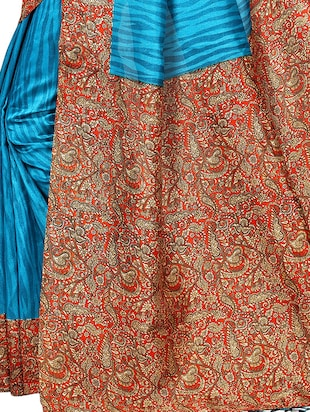 Contrast bordered mysore silk saree with blouse - 15348518 - Standard Image - 3
