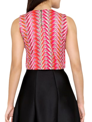 chevron key hole neck crop top - 15349239 - Standard Image - 3