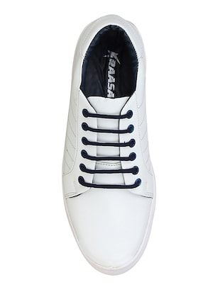 white leatherette lace up sneaker - 15350351 - Standard Image - 3