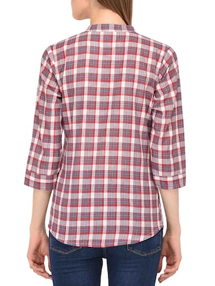 mandarin collar checkered shirt - 15363894 - Standard Image - 3