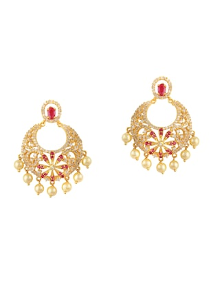 gold metal chandballi earring - 15364150 - Standard Image - 3